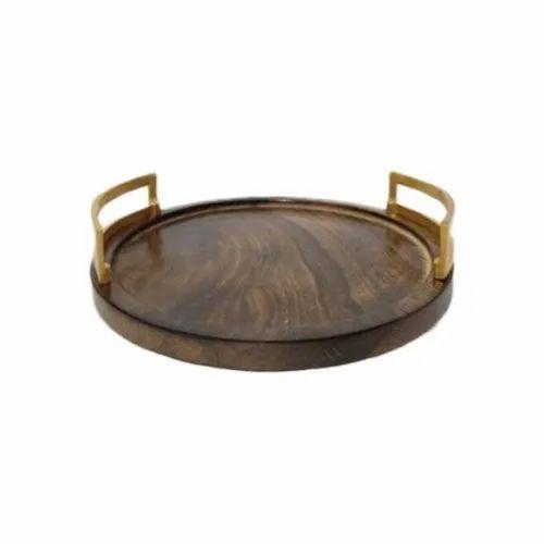 Aluminium Handle Wooden Serving Tray Shape Circular Rs 450 Piece Id 19678003973