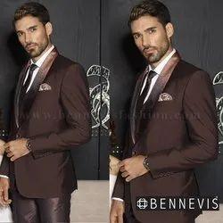 3-piece Suit Party Brown Terry Rayon Designer Men''s Suit