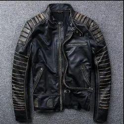 Round Biker Leo Torresi Stylish Genuine Leather Motorcycle Jacket for Men- Black, Size: Large