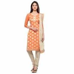 Orange Colored Poly Silk Unstitched Casual Wear Salwar Suit