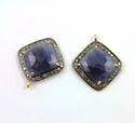 Jewellers Paradise Blue Sapphire Pave Diamond Pendant, Size: 20mm