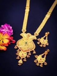 Golden Gold Forming Platted Jewelry Long Necklace Set