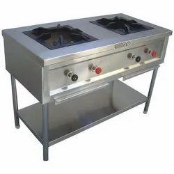 Stainless Steel Double Burner Range For Commercial