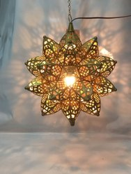 Fluorescent Bulb Brass Hanging Chandelier