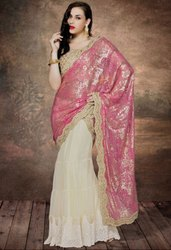 Classy Cream and Pink Lehenga Saree