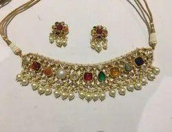 Natural Uncut Diamond Polki Jadau Navratan Necklace Set