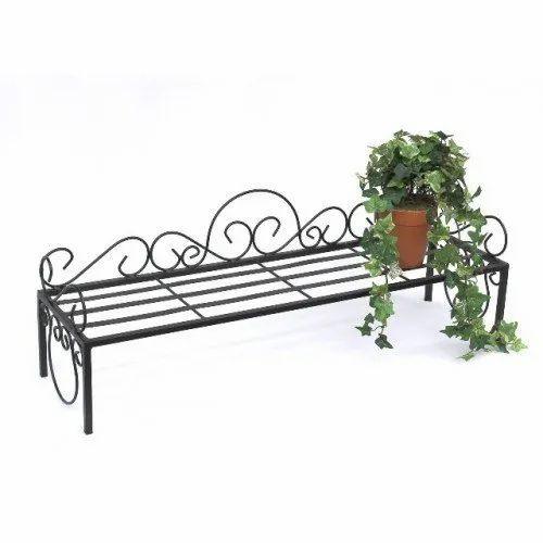 Black Rectangular Wrought Iron Flower Stand