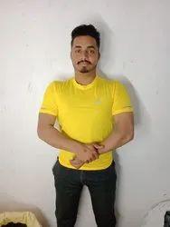 Plain Men Adidas Polyester 4 Way Lycra Dry-Fit T-Shirt