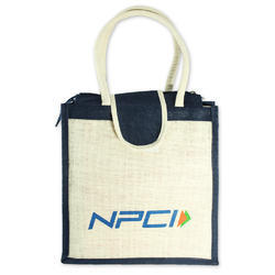 Off White Printed Jute Promotional Bag, Capacity: 10-15 Kg
