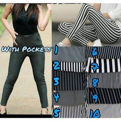 Rayon Ladies Striped Jeggings, Size: Free Size