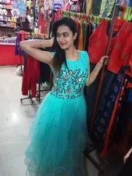 Green Embroidered Ladies Party Wear Gown