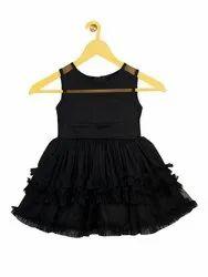 Shreem Kids Girls Black Solid Fit and Flare Dress