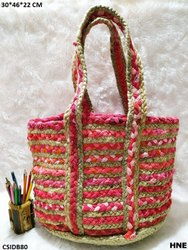 Blue And White Fancy Jute Tote Bag, Size: 11x9 inch