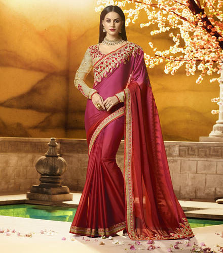 Women' s Designer Paper Silk Saree with Blouse Piece, Length: 6.3 m