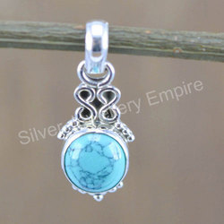 925 Sterling Silver Jewelry Turquoise Gemstone Pendant