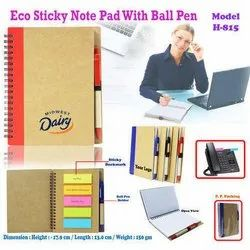 Eco Sticky Note Book with Ball Pen H-815