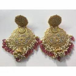 22 Carat Gold Natural Uncut Diamond Polki Jadau Chandbali Earrings
