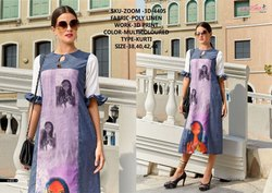 Rachna Poly Linen 3D Printed Work Zoom-3D Catalog Kurti For Women 5