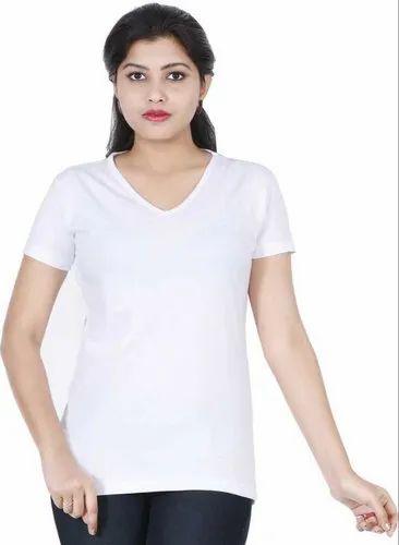White Cotton Plain V Neck Women T Shirt