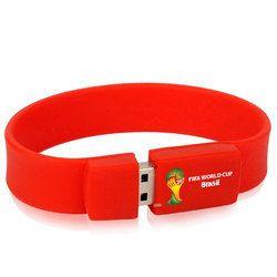 Plastic Red Bracelet Pen Drive, Memory Size: 4 , 8, 16 GB