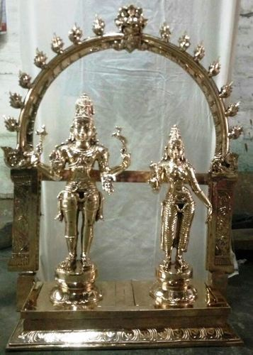 Lord Shiva Statue With Matha Parvathi Devi 2 1/4 Feet Impon