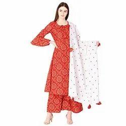 Tridev Febrics Cotton Jaipuri Suit Ladies Salwar Suit, Machine wash