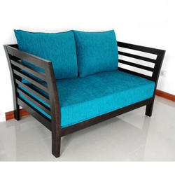 Sky Blue Wooden Sofa