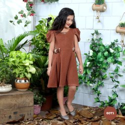 Girl Smart Brown Floral Applique Cap Sleeve Designer Frock, 2-12 Years