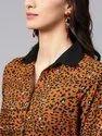 Women's Brown Animal Print Shirt Maxi Dress With Belt