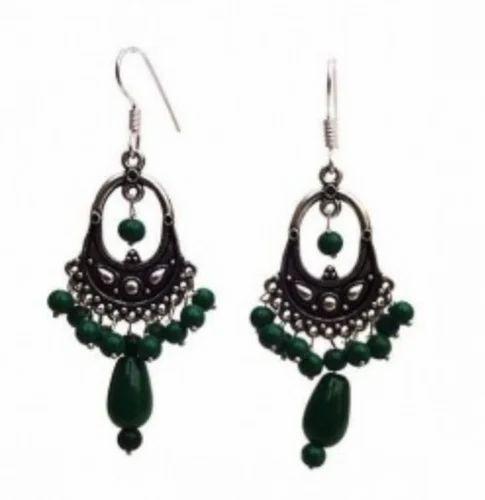 79b7163fc Silver Dark Green Earrings at Rs 99  pair