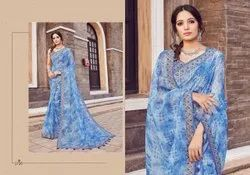 Linen Printed Traditional Wear Sarees, Length: 6.3 M