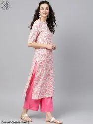 Nayo White Printed Floral Straight Kurta Set