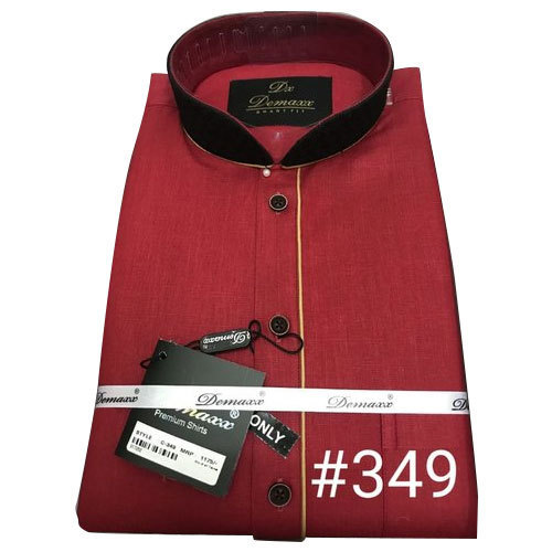 641df27eb74 Cotton Mens Chinese Collar Red Shirt