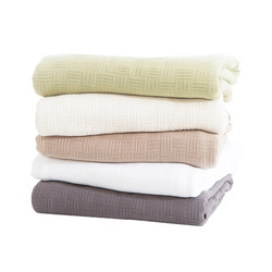 Woven Solid Color Cotton Thermal Blanket Cotton Throws