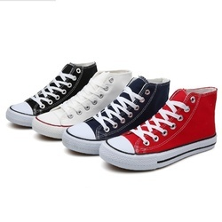 Girls Black and Red Canvas Shoes, Size