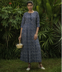 Navy Blue Floral Printed Cotton Maxi Dress