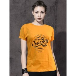 Mustard Casual Wear Ladies Half Sleeve Cotton T Shirt, Size: S-XL