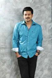Natpu Garments Silk Mens Sky Blue Shirt