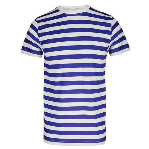 f0df3e4aaf Men's White And Blue Casual Striped T-Shirt, Rs 100 /piece | ID ...
