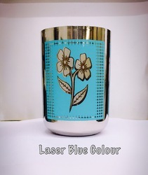 Laser Blue Color SS Drinking Glass