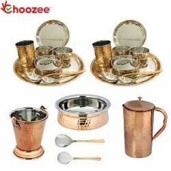 Choozee - Stainless Steel Copper Thali Dinner Set with Serveware & Hammered Pitcher Jug (21 Pcs)
