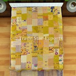 Silk Sari Patch Work Kantha Quilt