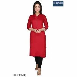 Regular 3/4th Sleeve ICONIQ Red Ladies Casual Kurti, Age Group: 13-45