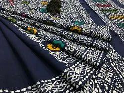 Handblock Print Mulmul Cotton Saree, With Blouse