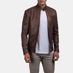 Black Casanova Vintage Full Sleeve Mens Leather Jacket, Size: XL
