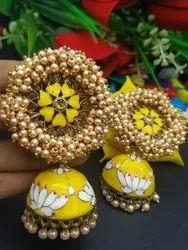 Brass Meenakari Jhumki Earings