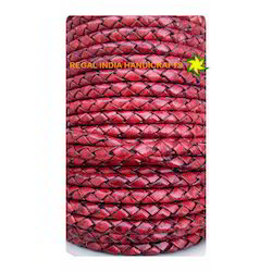Antique Red Braided Leather Cord