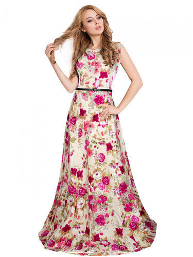 8c2ff2074f35 Silk And Satin Wine Color Printed Party Wear Long Gown