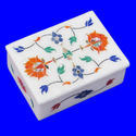 Hexagonal Marble Box With Inlay Work