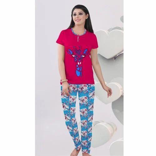 61279250d6c 100 % Cotton Multicolor Printed Pink Night Suit